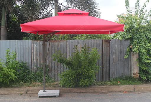 ô dù lệch tâm vuông 2 tầng đỏ đô đẹp - sang trọng